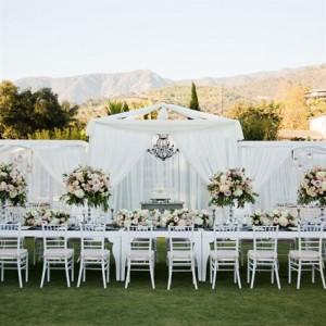 Цялостна цветна декорация на градинска сватба